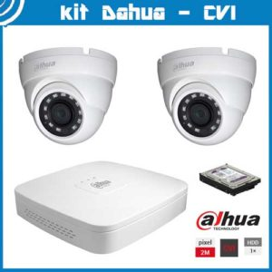 Videosecurity Kit HD-Cvi Dahua - 2ch- Dome - 2mpx - IR 20m