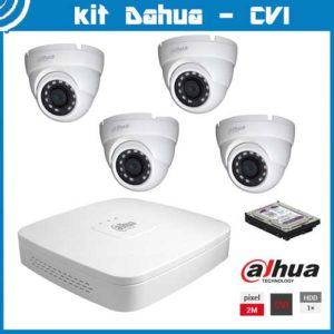 Videosecurity Kit HD-Cvi Dahua - 4ch- Dome - 2mpx - IR 20m