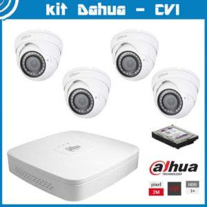 Videosecurity Kit HD-Cvi Dahua - 4ch- Dome - 2mpx - IR 30m - 2,8-12mm