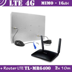 Kit LTE / 4G - Mimo Antenna 16dbi + 2x 10m cable + Router LTE TP-link